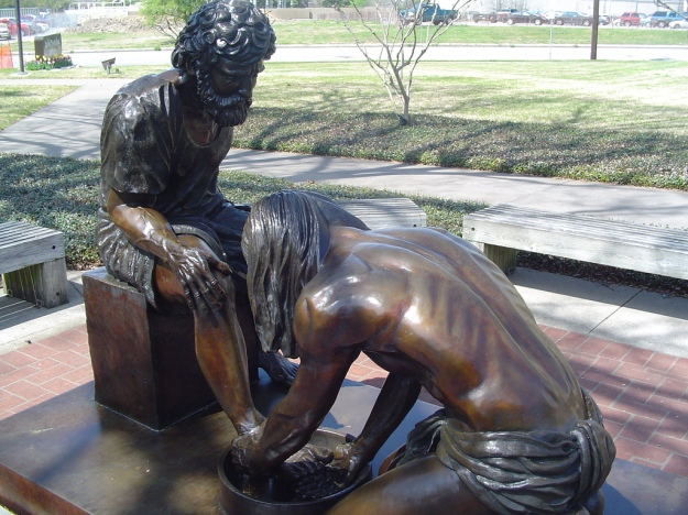 Jesus washing disciples' feet